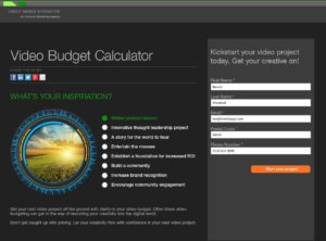 Video Budget Calculator Landing Page